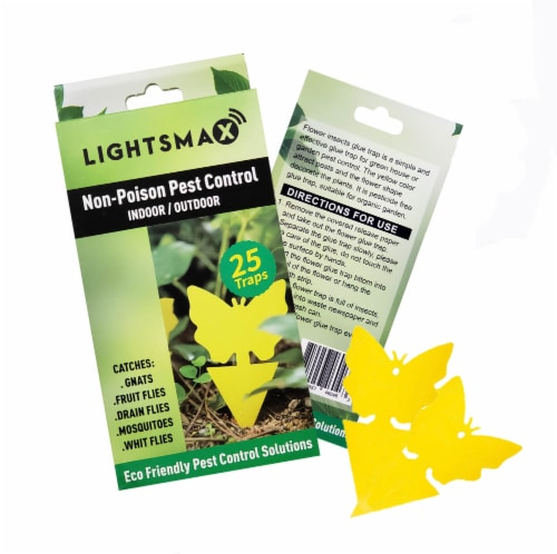Gnat, and Fruit Fly Trap: Yellow Dual Sided Glue Insect Catcher to Control Bugs Indoor-25 Pks Perspective: front