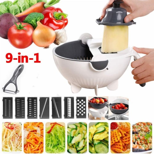 9-1 MULTI-PURPOSE KITCHEN VEGETABLE FOOD PREP CUTTER WITH DRAINER Perspective: front