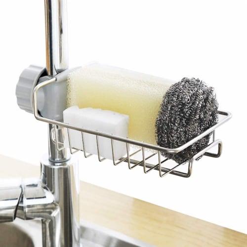 KITCHEN BATH SINK CADDY ORGANIZER SPONGE SOAP HOLDER FAUCET HOLDER Perspective: front