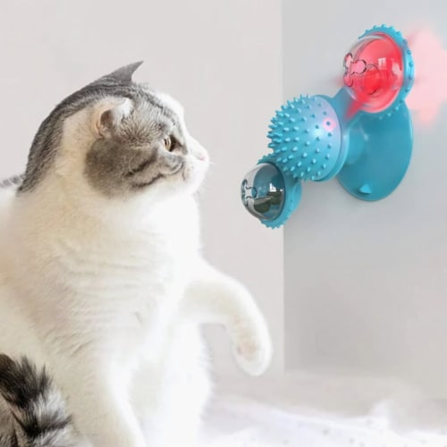Windmill Cat Toy Turntable Teasing Interactive Cat Toys uction Cup Scratching Tickle Catnip Perspective: front