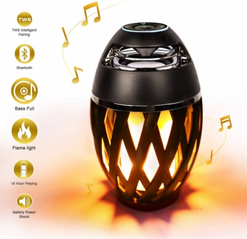Portable Bluetooth 5.0 Indoor/Outdoor Wireless Speaker LED Torch Atmosph iPhone/iPad/Android Perspective: front