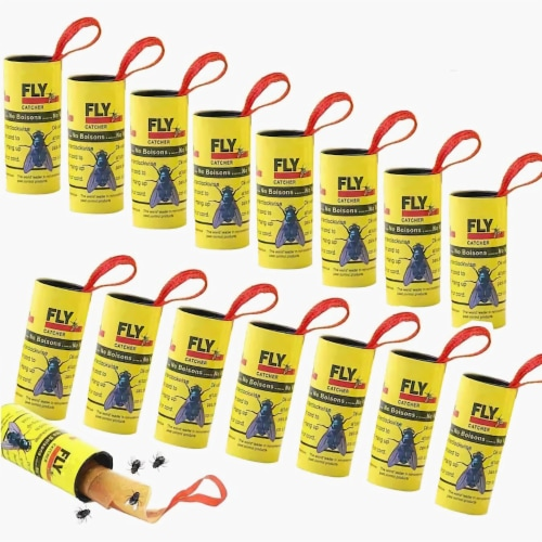 Fly Catcher Trap, Fly Trap, Fly Bait, Fly Paper Ribbon, Sticky Fly Ribbons, Fly Paper -32 Pks Perspective: front