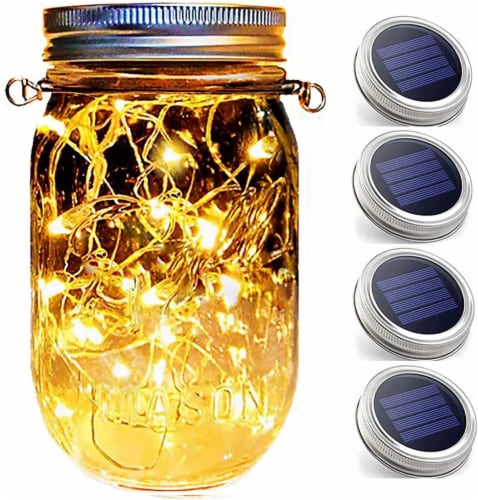 Hanging Mason Jar String Lights Lids 30 LED Bulbs Solar Lights with Hangers (NO Jars) - X4 Perspective: front