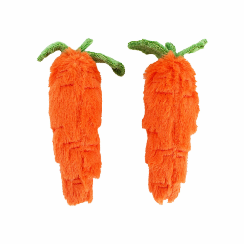 Midlee Plush Carrot Easter Dog Toy- Pack of 2 Perspective: front