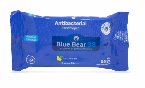 (12) Blue Bear 99 Antibacterial Wipes - 15 Count Packs Perspective: front