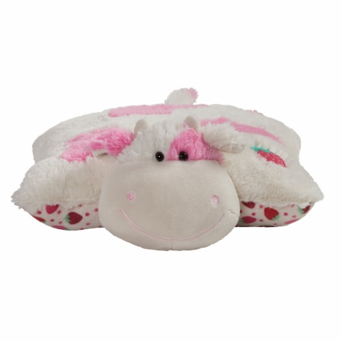 Pillow Pets Jumboz Sweet Strawberry Milkshake Scented Cow Plush Toy Perspective: front