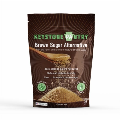 Keystone Pantry Sugar-Free Brown Sugar Substitute 2lb bag certified Kosher-parve (kof-k) Perspective: front