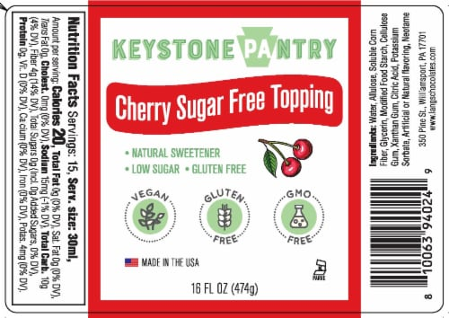Keystone Pantry Cherry Sugar-Free Topping Perspective: front