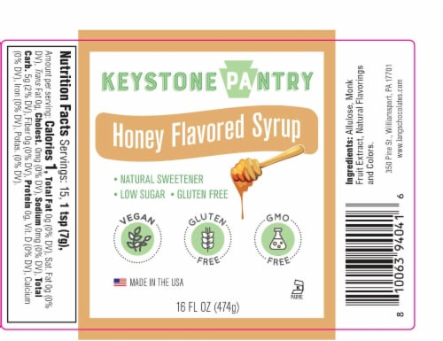 Keystone Pantry Honey Flavored Syrup with Monk Fruit 1 pint bottle Perspective: front