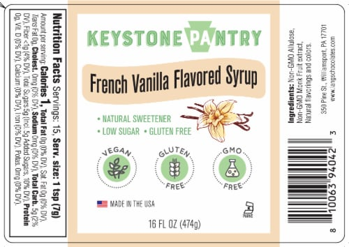 Keystone Pantry French Vanilla Flavored Syrup 1 pint bottle Perspective: front