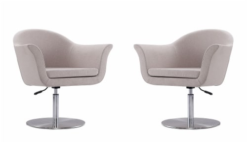 Voyager Barley and Brushed Metal Woven Swivel Adjustable Accent Chair (Set of 2) Perspective: front