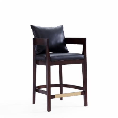 Ritz 34 in. Black and Dark Walnut Beech Wood Counter Height Bar Stool (Set of 2) Perspective: front