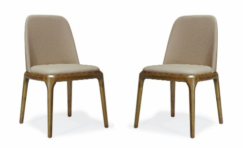 Manhattan Comfort Courding Tan and Walnut Faux Leather Dining Chair (Set of 2) Perspective: front