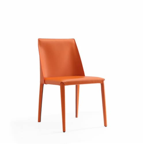 Manhattan Comfort Paris Coral Saddle Leather Dining Chair (Set of 4) Perspective: front