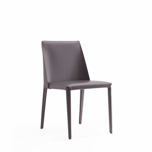 Manhattan Comfort Paris Grey Saddle Leather Dining Chair (Set of 4) Perspective: front