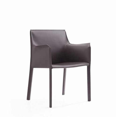 Manhattan Comfort Paris Grey Saddle Leather Armchair (Set of 2) Perspective: front