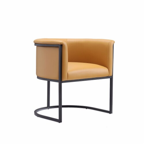 Manhattan Comfort Bali Saddle and Black Faux Leather Dining Chair (Set of 2) Perspective: front