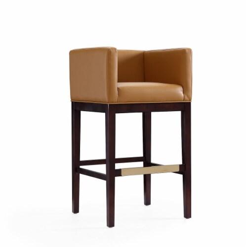 Manhattan Comfort Kingsley 38 in. Camel and Dark Walnut Beech Wood Barstool (Set of 3) Perspective: front