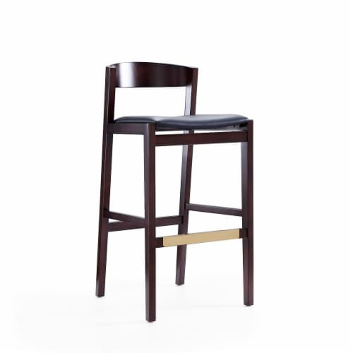 Manhattan Comfort Klismos 40.75 in. Black and Dark Walnut Beech Wood Barstool (Set of 3) Perspective: front