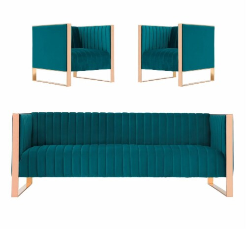 Manhattan Comfort Trillium 3-Piece Teal and Rose Gold Sofa and Armchair Set Perspective: front