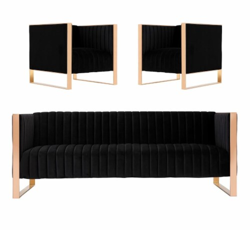 Manhattan Comfort Trillium 3-Piece Black and Rose Gold Sofa and Armchair Set Perspective: front