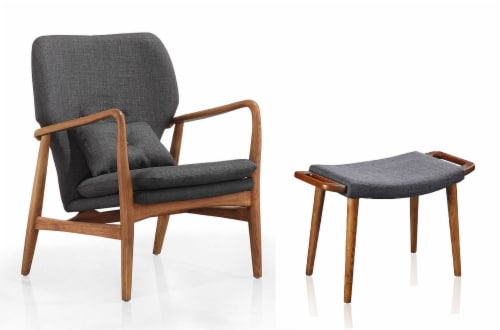 Manhattan Comfort Bradley Charcoal and Walnut Accent Chair and Ottoman Perspective: front