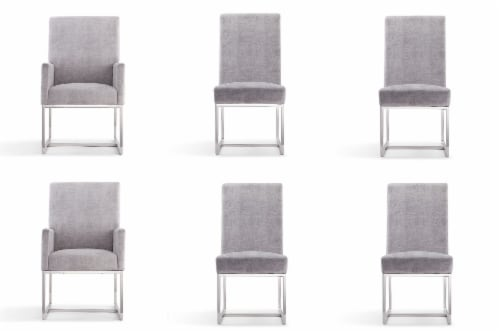 Manhattan Comfort Element Grey Dining Chairs (Set of 6) Perspective: front