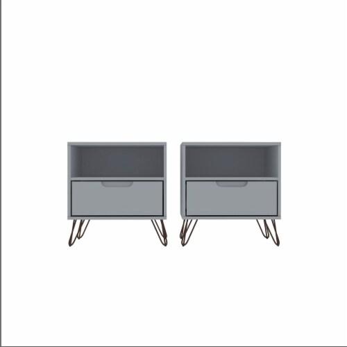 Manhattan Comfort Rockefeller 1-Drawer White Nightstand (Set of 2) Perspective: front