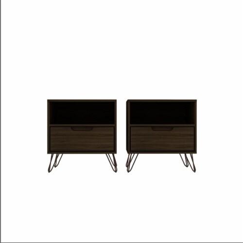 Manhattan Comfort Rockefeller 1-Drawer Brown Nightstand (Set of 2) Perspective: front
