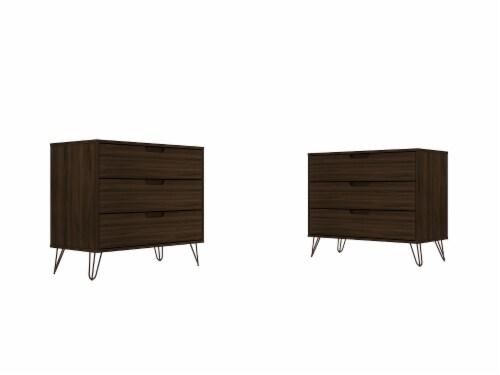 Manhattan Comfort Rockefeller 3-Drawer Brown Dresser (Set of 2) Perspective: front