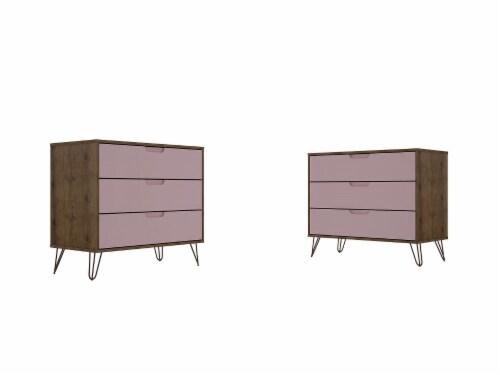 Manhattan Comfort Rockefeller 3-Drawer Nature and Rose Pink Dresser (Set of 2) Perspective: front