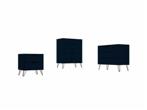 Manhattan Comfort Rockefeller 3-Piece Tatiana Midnight Blue Dresser and Nightstand Set Perspective: front