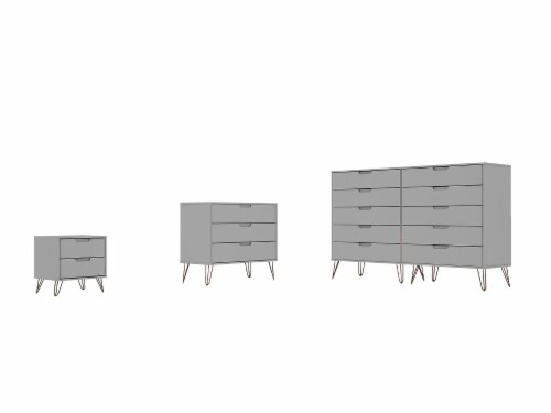 Manhattan Comfort Rockefeller 3-Piece White Dresser and Nightstand Set Perspective: front