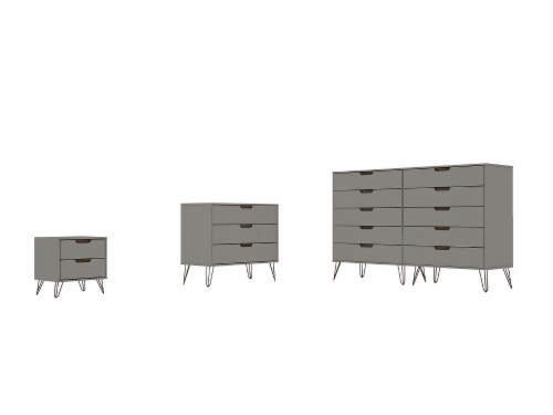 Manhattan Comfort Rockefeller 3-Piece Off White and Nature Dresser and Nightstand Set Perspective: front