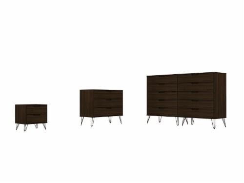 Manhattan Comfort Rockefeller 3-Piece Brown Dresser and Nightstand Set Perspective: front