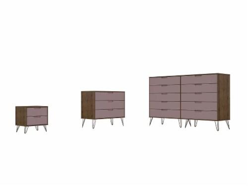 Manhattan Comfort Rockefeller 3-Piece Nature and Rose Pink Dresser and Nightstand Set Perspective: front