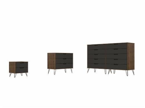 Manhattan Comfort Rockefeller 3-Piece Nature and Textured Grey Dresser and Nightstand Set Perspective: front
