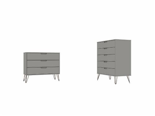 Manhattan Comfort Rockefeller 5-Drawer and 3-Drawer Off White and Nature Dresser Set Perspective: front