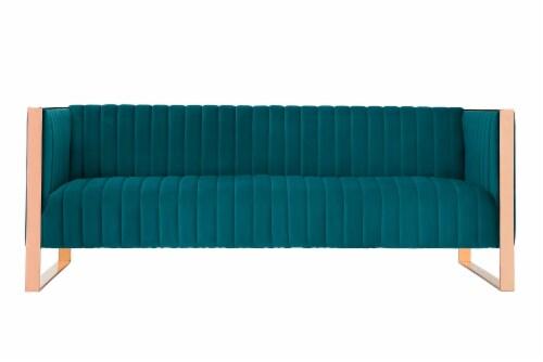 Manhattan Comfort Trillium 83.07 in. Aqua Blue and Rose Gold 3-Seat Sofa Perspective: front