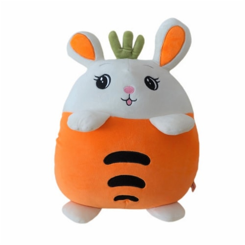 Carrot Bunny Plush Pillow Stuffed Toy | Swiss Jasmine® Plushies | with Blanket | 16 Inches Perspective: front