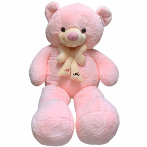 Teddy Bear   Bearded Bowtie Stuffed Animal   Swiss Jasmine® Plushies   32 Inches, Pink Perspective: front