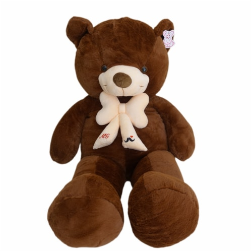 Teddy Bear | Bearded Bowtie Stuffed Animal | Swiss Jasmine® Plushies | 39 Inches, Coffee Perspective: front