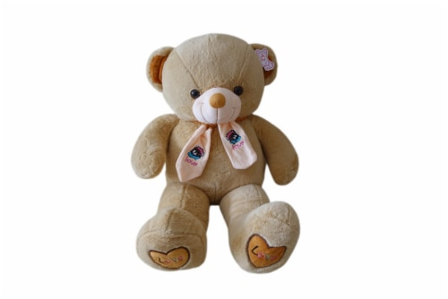 Teddy Bear   Scarf Bowtie Stuffed Animal   Swiss Jasmine® Plushies   32 Inches, Brown Perspective: front