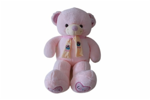 Teddy Bear | Scarf Bowtie Stuffed Animal | Swiss Jasmine® Plushies | 32 Inches Pink Perspective: front