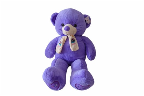 Teddy Bear | Scarf Bowtie Teddy Bear | Swiss Jasmine® Plushies | 32 Inches Violet Perspective: front