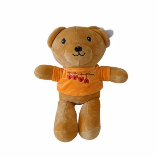 Teddy Bear | Love Shirt Stuffed Animal | Swiss Jasmine® Plushies | 12 Inches Orange Perspective: front