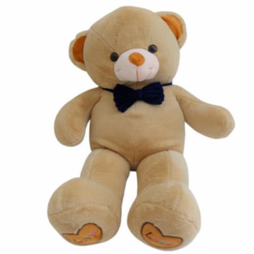 Teddy Bear | Crochet Bowtie Stuffed Animal | Swiss Jasmine® Plushies | 32 Inches Brown Perspective: front