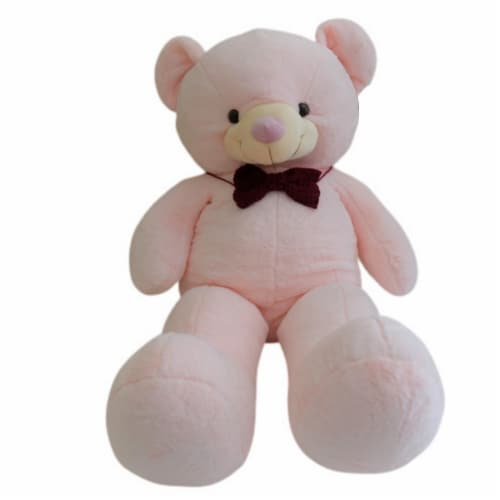 Teddy Bear   Crochet Bowtie Stuffed Animal   Swiss Jasmine® Plushies   32 Inches Perspective: front