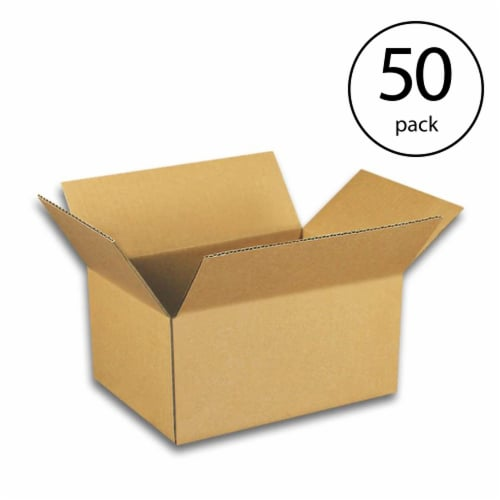 EcoSwift 7 x 5 x 3 Inch Corrugated Cardboard Packing Boxes for Moving (50 Pack) Perspective: front