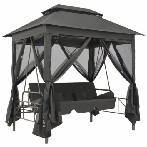 vidaXL Outdoor Convertible Swing Bench with Canopy Anthracite 86.6 x63 x94.5  Steel Perspective: front